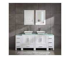 72″ Double Sink Grey Bathroom Vanity Modern Design Glass Top W/Mirror Faucet&Drain