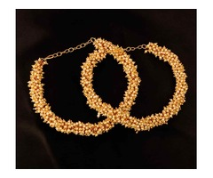Gold Plated Anklet with White Pearls