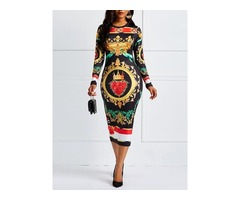 Bow Collar Pullover Floral Womens Bodycon Dress