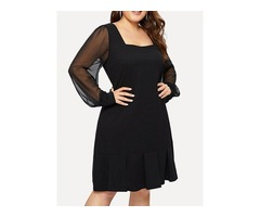 Plus Size Square Neck See-Through Long Sleeve Womens Casual Dress