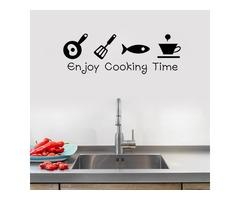 Cartoon Enjoy Cooking Time Kitchen Wall Sticker PVC Mural Art Decals Stickers Background Home Decor