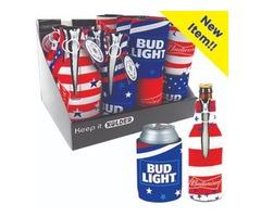Patriotic Pack of Beverage Insulator - 6 Bottle Suits + 12 Can Holders Per Display.