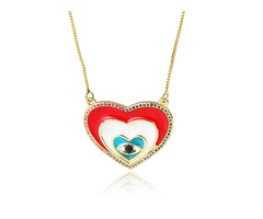 Heart Evil Eye Pendant With Chain on Wholesale