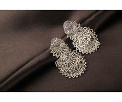 Peacock Shape Silver Plated Dangle Earring