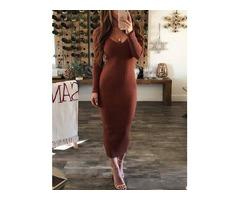 V-Neck Long Sleeve Mid-Calf Standard-Waist Casual Womens Sweater Dress