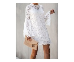 Above Knee Long Sleeve Hollow Lace Floral Womens A-Line Dress
