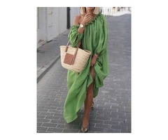 Oblique Collar 3/4 Sleeve One-Shoulder Womens Casual Dress
