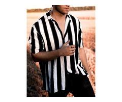Color Block Stripe Loose Mens Shirt