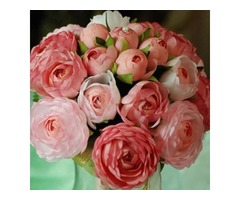 Warm Light Pink-red Silk Cloth Wedding Bridal Bouquet