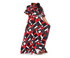 Floor-Length Three-Quarter Sleeve Print Pullover Expansion Womens Dress