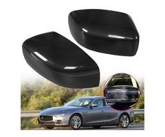Pair Real Carbon Fiber Car Rear View Mirror Cover Caps for Maserati Ghibli/Quattroporte 2013-2016