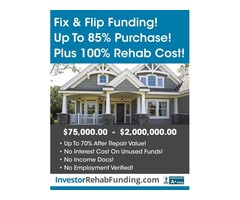 INVESTOR FIX & FLIP LOANS Up To 85% Of Purchase & 100% Rehab!