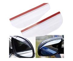 2Pcs Flexible PVC Car Rearview Mirror Rain Shield Guard Rainproof Eyebrow White Universal