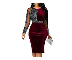 Sequins Long Sleeve Round Neck Pullover Womens Dress