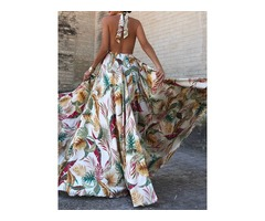 Floor-Length Lace-Up Backless Plant Womens Maxi Dress
