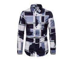 Color Block Patchwork Lapel Button Mens Shirt
