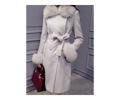 Wool Blends Hidden Button Bowknot Belt Womens Overcoat