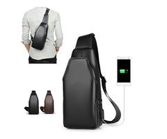 BIKIGHT Outdoor Chest Shoulder Bag Crossbody Men Waterproof USB Charging Earphone Port Cycling Bag