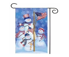 "12.5"" x 18"" Christmas Snowmen Winter Welcome House Garden Flag Yard Banner Decorations"