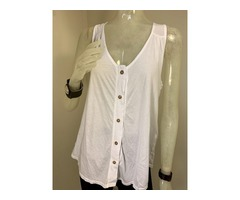 TMD Button Down Tank Top White