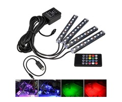 RGB 9 LED Wireless Remote Voice Control Atmosphere Strip Light USB Motorcycle Lamp