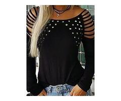 Plus Size Mid-Length Round Neck Plain Slim Fall Womens T-Shirt