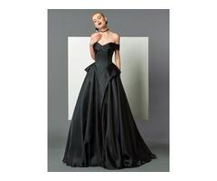 A-Line Off-the-Shoulder Ruffles Black Evening Dress