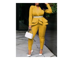 Office Lady Ankle Length Plain Womens Two Piece Sets