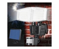 Solar Powered 100 LED 800LM Motion Sensor Light Adjustable Wall Light Waterproof Outdoor Garden