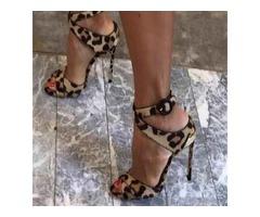 Leopard Print Stiletto Heel Peep Toe Ankle Strap Womens Sandals