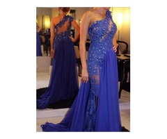 A-Line One-Shoulder Hollow Appliques Beaded Evening Dress