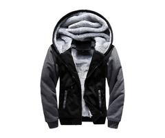 Loose Hooded Color Block Zipper Mens Fleece Hoodie