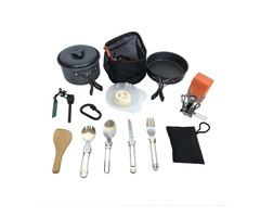 1-2 People Picnic Set Camping Cookware Tableware Stove Portable Outdoor Cooking Equipment
