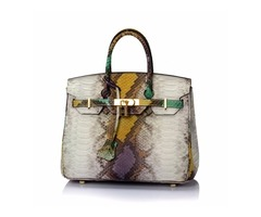 Bag Clearance Sale - Green Multi-Color Snakeskin Print Leather Satchel Handbag