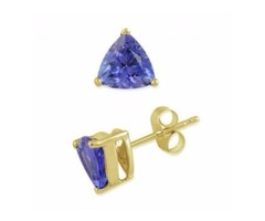 Tanzanite Stud Earrings White Gold For Sale