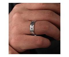14K White Gold 6mm - Center Diamond Cut Men's Wedding Band - MBM0158-60W4JJJ