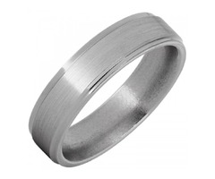 Titanium Grooved Edge Band With Satin Finish - SKU: TBAND1363