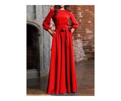 Lantern Sleeve High Waist Round Neck Maxi Dress