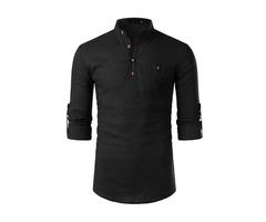 Plain Stand Collar Button Slim Mens Shirt