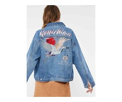 Loose Single-Breasted Denim Embroidery Lapel Womens Jacket