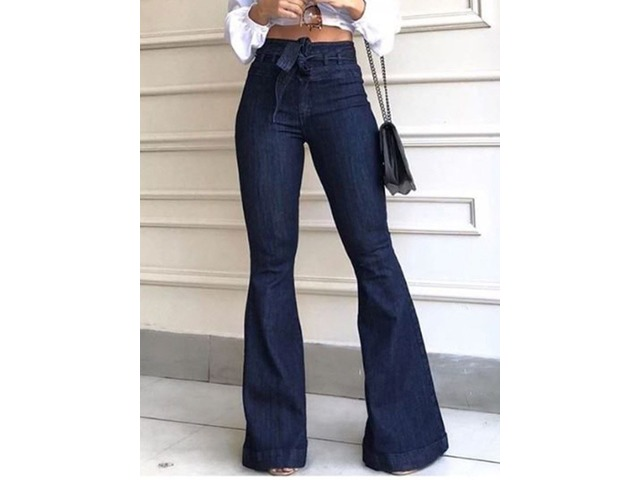Lace-Up Bellbottoms Plain Slim High Waist Womens Jeans | free-classifieds-usa.com