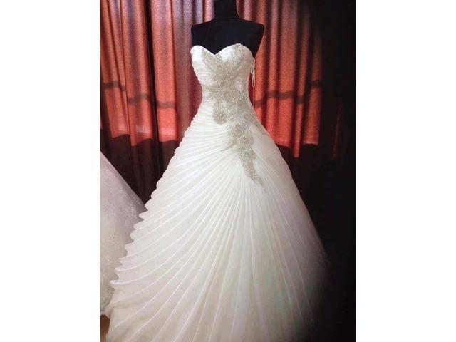 Draped Appliques Bead Ball Gown Wedding Dress   free-classifieds-usa.com