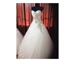 Draped Appliques Bead Ball Gown Wedding Dress