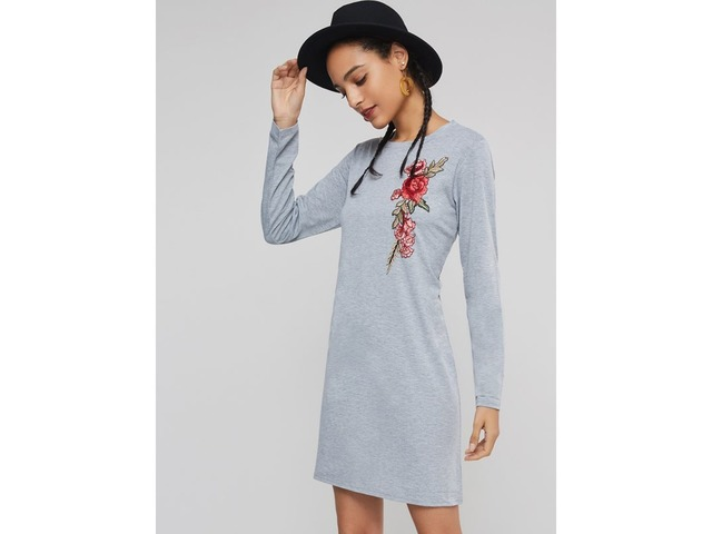 Embroidery Round Neck Womens Long Sleeve Dress | free-classifieds-usa.com