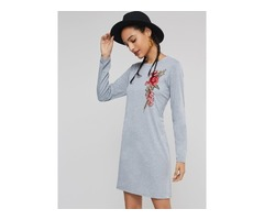 Embroidery Round Neck Womens Long Sleeve Dress