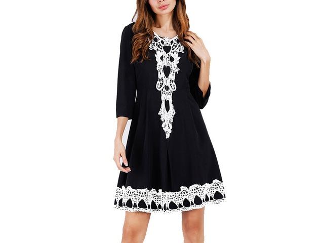 Round Neck Knee-Length Print Womens A-Line Dress | free-classifieds-usa.com