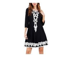 Round Neck Knee-Length Print Womens A-Line Dress
