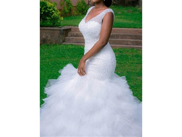 Straps Tiered Beading Mermaid Plus Size Wedding Dress | free-classifieds-usa.com