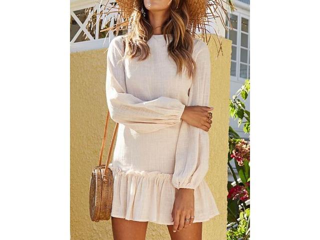 Round Neck Long Sleeve Above Knee Womens Casual Dress | free-classifieds-usa.com
