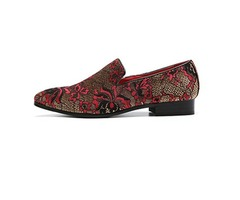 Pointed Toe Slip-On Floral Mens Dress Shoes
